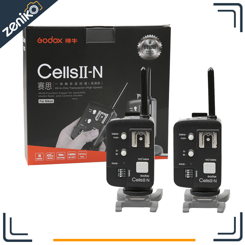 Godox Wireless Flash Transceiver Cells II 1/8000S Trigger Transmitter & Receiver for Nikon 5D Mark II III 2D 7D 6D 70D 60D 700D(China (Mainland))