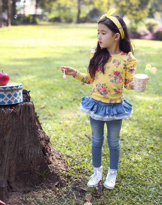 new spring autumn 2014 summer fashion children baby kids denim brand jeans skirt pants trousers for girls with lace retail