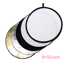 32″ 80cm 5 in 1 Round Collapsible Light Photography Reflector Softbox Pad for Studio Multi Photo Disc + Portable Black Nylon Bag