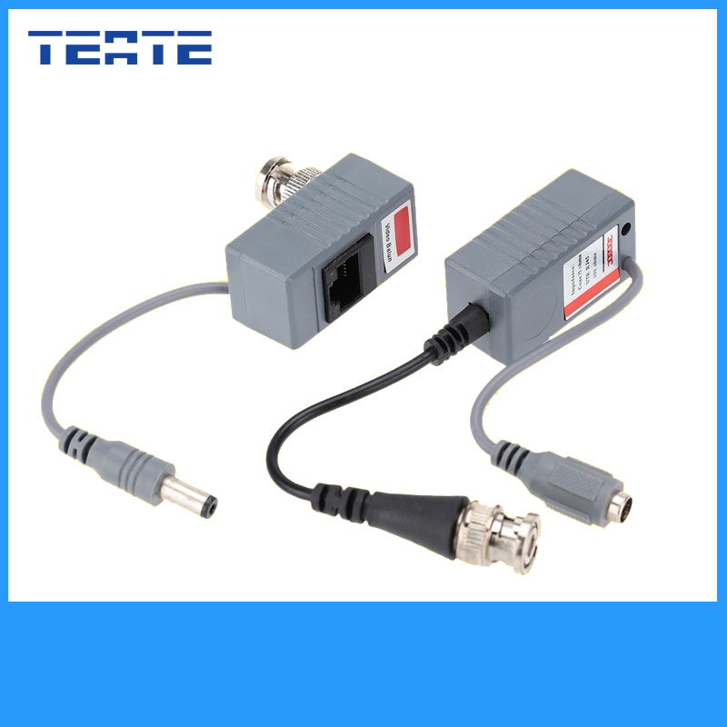 TEATE CCTV Camera Video Balun ABS Plastic Transceiver BNC UTP RJ45 Video/ Power over CAT5/5E/6 Cable CCTV Accessories TET-G05CAB(China (Mainland))