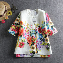 Children Clothing Set Kids Girl Clothes 2015 Girls Sets Brand Floral Dobby Kids Tracksuit(Jacket+Dress) Girls Clothing Sets(China (Mainland))