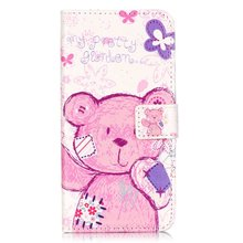 Cute Pink Bear Pattern PU Leather Wallet Folio Case Cover Huawei Honor 5C 5X Relief Painting Flip Bag - Shenzhen GOGO technology co., LTD store