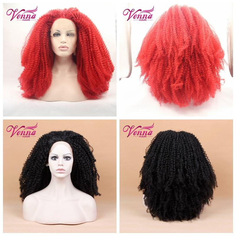 Synthetic short hair White afro kinky curl wig lace front for black woman