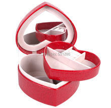 Gift Box Jewelry Display Free Hotsale Korean Princess 4 Color Storage Heart-shaped Box Upscale Wedding Gifts/casket 14*12*7cm(China (Mainland))