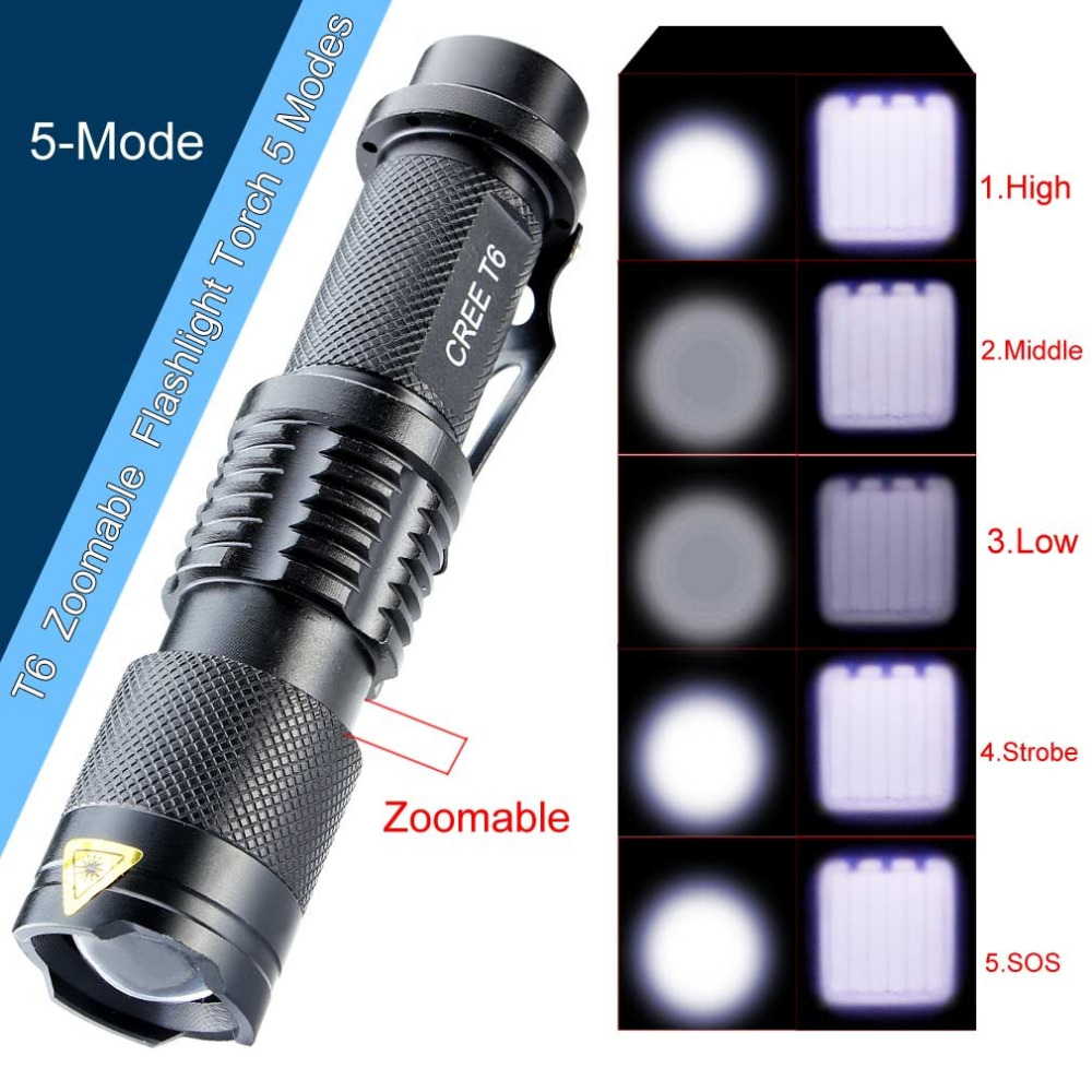 New 2016 3000 Lumens High Power LED Torch CREE T6 LED Flashlight Zoomable Torch light camp 5 modes tactical Flashlight For 18650
