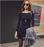 New Promotion Fashion Women Ladies Off Shoulder Long Sleeve Knitted Bodycon Casual Winter Dress Novelty Mini Free Shipping 1114
