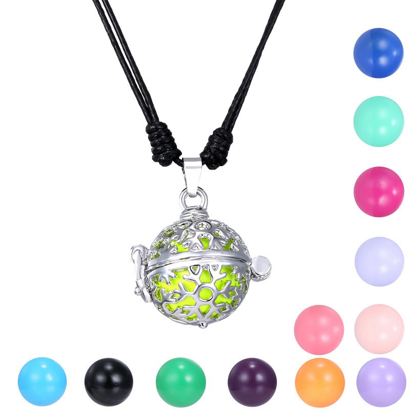 Newest Angel Ball Bell Pendant With Leather Chain Silver Hollow Snowflake Mexican Bola Cage Necklace Pregnancy Women Jewelry(China (Mainland))