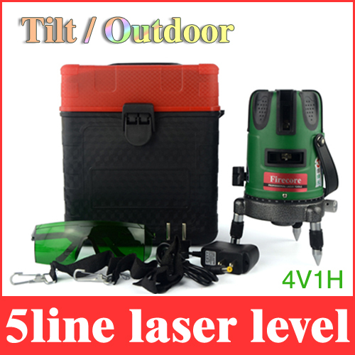 Outdoor green laser level 5 lines 1 point 4V1H rotary 360 with tilt model laser leveling cross lazer line without battery LL39(China (Mainland))