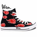 Anime Shoes Naruto Shippuuden Akatsuki Red Clouds Hand Painted Canvas Shoes Women Men Girls Boys Gifts