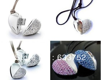 8GB Gloway USB 2.0  jewelry heart   usb flash(silvery in stock only)   free shipping by china post air mail  to all worldside.