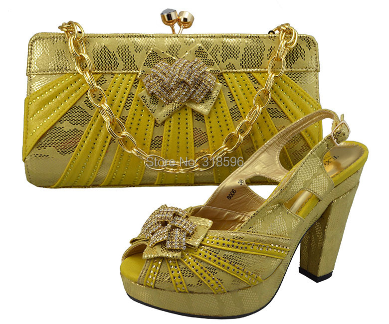 New fashion wedding high heel Italian matching shoes and bags elegant sexy gold color shoes with bag(China (Mainland))