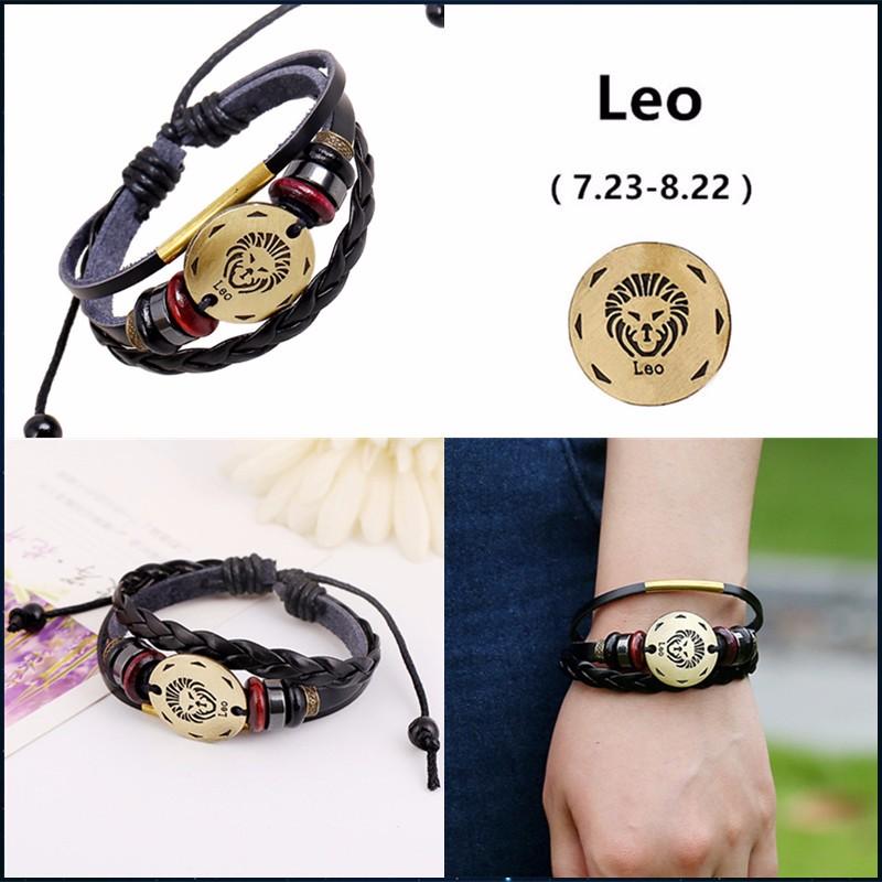 12 Zodiac Sings Fashion Jewelry Leather Bracelet Women Casual Personality Alloy Sagittarius beaded Vintage Punk Bracelet B0000