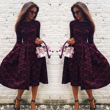 fashion 2015 hot sale cosy vestido boho o-neck long sleeve plaid loose kawaii desigual warm fall winter dress