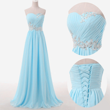 Robe De Soiree Longue Summer Style 2016 Sweetheart Sleeveless Appliques Beading Long Evening Dress Formal Evening Gowns Dresses(China (Mainland))