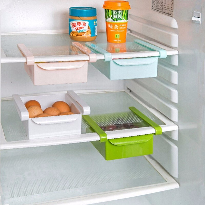 Multifuction Plastic Kitchen Refrigerator Storage Rack Home Fridge Shelf Sundies Pull Out Drawer