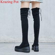 2018 yeni varış yuvarlak ayak akın kama platformu kadın over-the-diz çizmeler zarif mujer artan pist rahat kış ayakkabı L39(China)