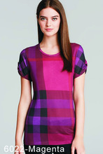 Brand New Womens T Shirts Short Sleeve Tee T Shirt Fashion For Women Ladies Designer Plaid T-shirts(China (Mainland))