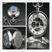 New hot Russian military Pocket Watch Silver mechanical Pocket watch Roman numerals Men Pocket watch Wholesale
