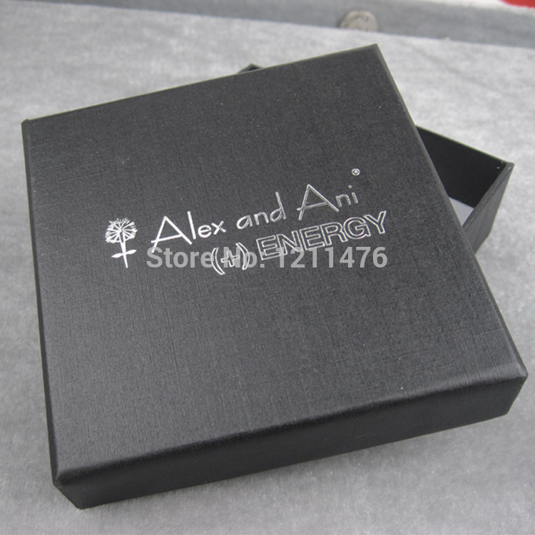 New Black Square Alex And Ani Jewelry Gift Boxes Cardboard Boxes With Logo Printed 4pcs AAB090(China (Mainland))
