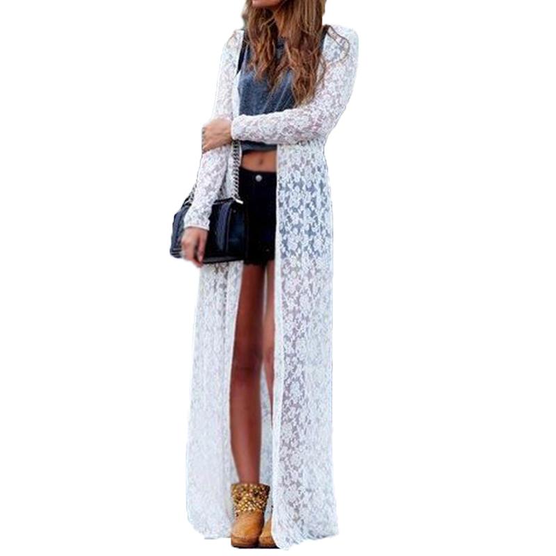 New 2016 Spring Blusas Fashion Women Lace Crochet Long Sleeve Beach