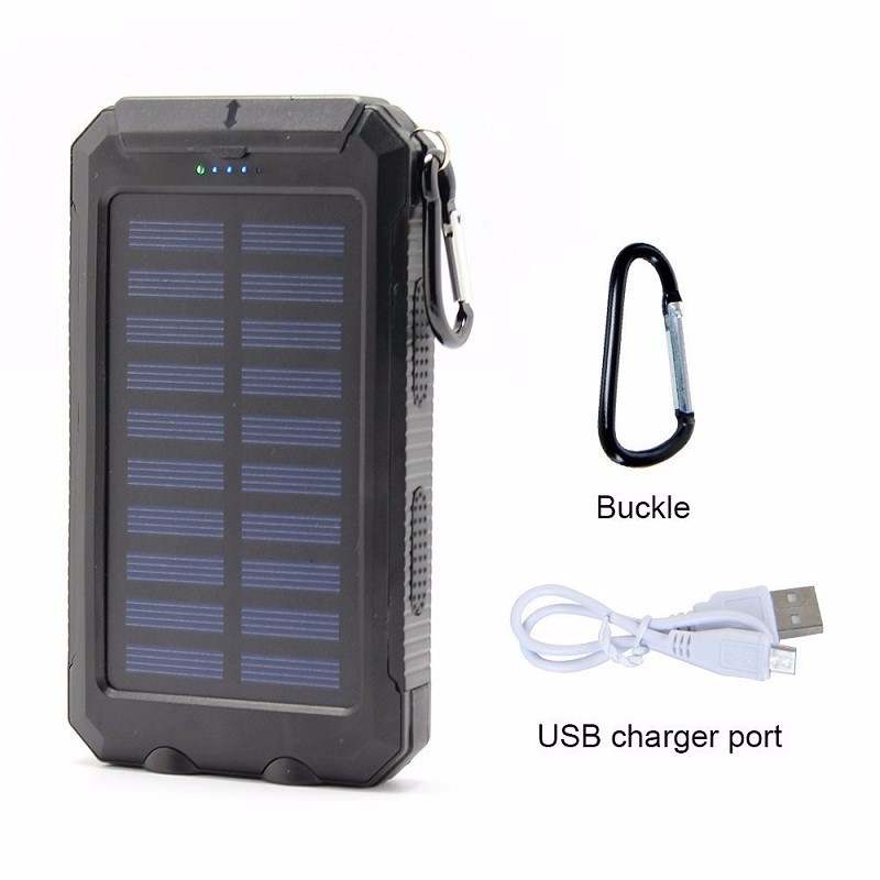 Factory price waterproof 2 LED lights portable mobile solar charger power bank 10000mah