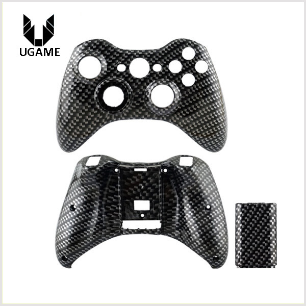 Hydro dipped Carbon Fiber front shell + back shell for Microsoft Xbox 360 Wireless Controller case for X box 360 cover in stock(China (Mainland))