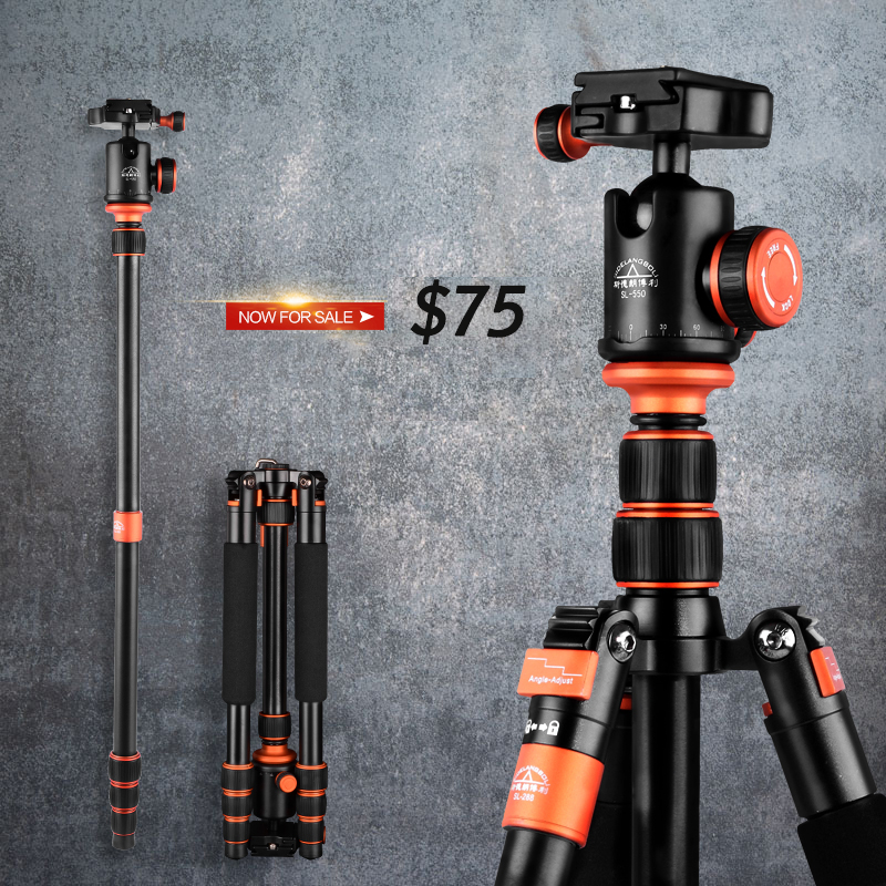 SIDELANGBOLI SL288 Travel Tripod Camera Professional Monopod with Detachable Ballhead  Kit  For  DSLR Camera<br><br>Aliexpress