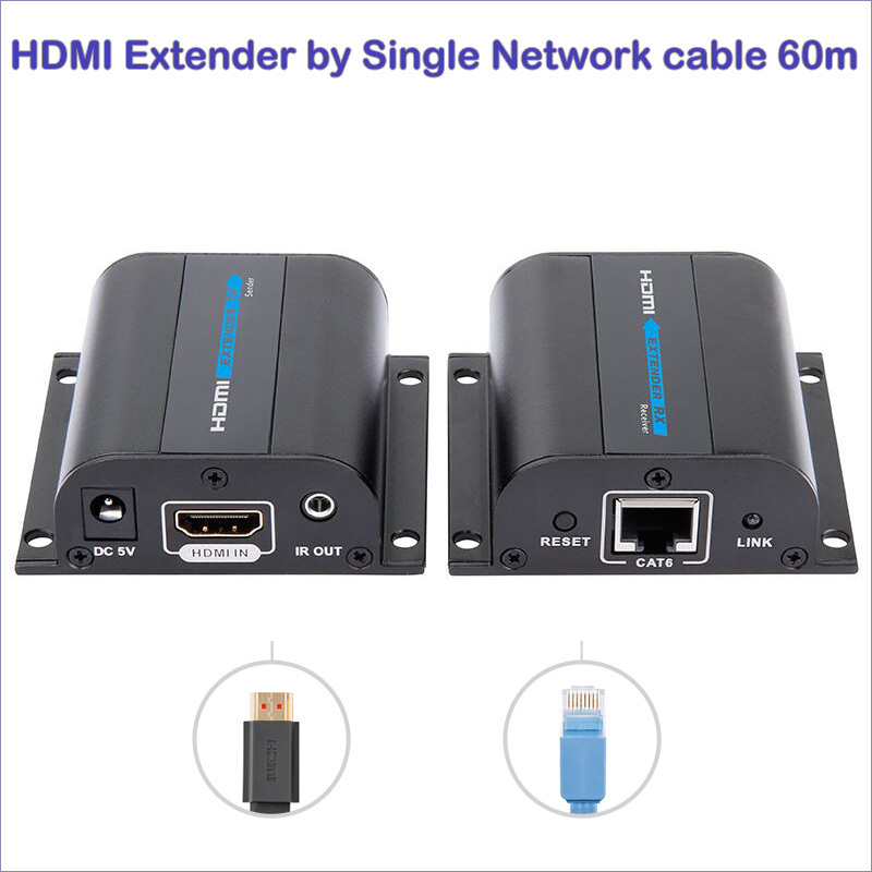 New HDMI Extender over Cat 6 hdmi extender ir hdmi lan extender Converter up to 60m mountable hdmi adapter free shipping(China (Mainland))