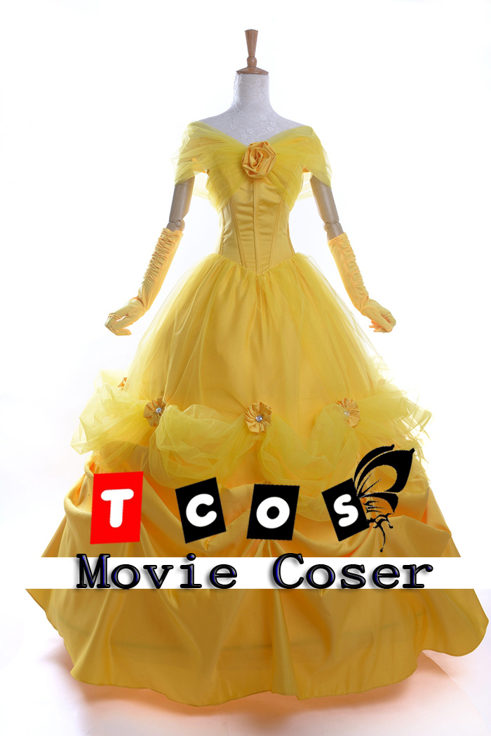 Movie Beauty and Beast Princess Belle Yellow Long Cosplay Dress Yellow Costume High Quality(China (Mainland))