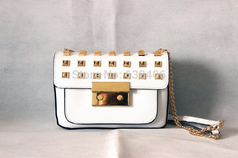 USA MIKAEL'KS Mini Sloan Stud Flap Bag Chain Shoulder Bag Genuine Leather Bag Women Leather Handbag Bolsas Messenger Bag Dustbag(China (Mainland))