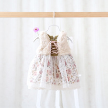 158 Autumn Winter Children's Clothing Infant Girls Dress Baby Flower Dresses(China (Mainland))