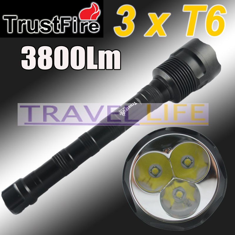 1PC Trustfire 3T6 Flashlight 5 Mode 3800 Lumens 3x CREE XM-L XML T6 LED Flashlight18650 Battery Extendable High Power Torch<br><br>Aliexpress