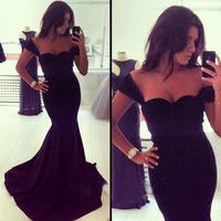 Спагетти ремень длиной макси платья партии женщин черный рыбий хвост винтажное платье элегантным
