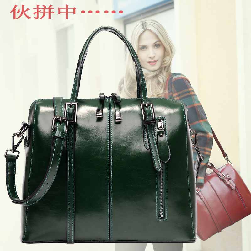New fashion shoulder bag leather leather wax on behalf of a portable satchel free to join 1399<br><br>Aliexpress