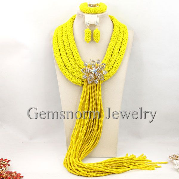 Luxury Yellow African Beads Bridal Women Jewelry Set Traditional Nigerian Wedding Costume Necklace Set Free Shipping WB432<br>