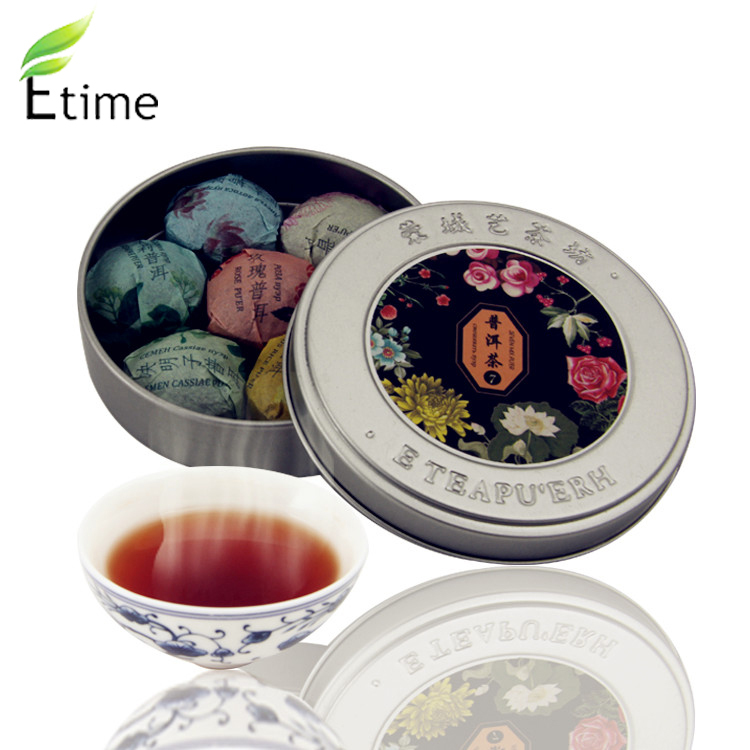 tea High Quality Chinese Organic Seven Mix Good Tastes Promotion puer Health Food Compressed Mini Round Box puer tea BKTH001(China (Mainland))