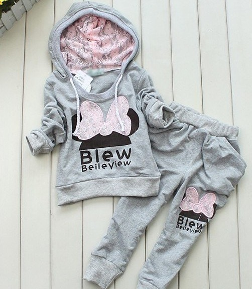 Sport style girl suit/ long sleeve hoodie +long pants/ children knitted sportswear(China (Mainland))