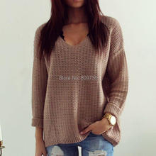 Women Knitted Sweater Winter New Casual Jumper V Neck Long Sleeve Pullover Tops Europe Hot Vintage Hollow Loose Clothes(China (Mainland))