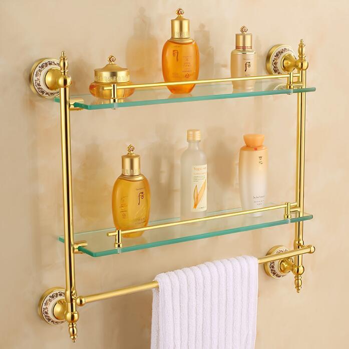 Фотография Free shipping Bathroom Glass Shelf Crystal & Copper Gold plated Dual Tier glass Cosmetic Shampoo Body Wash Shelves Bath shelf