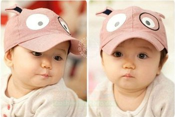 6 pcs per lot 3 colors 100% cotton material unsex kids children baby Animal style baseball & sun caps hats C2002 free shipping