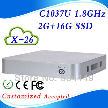 In Stock X-26 2G RAM 16G SSD C1037U 1.8GHz fan industrial pc case slim htpc pc station support Linux OS Ubuntu