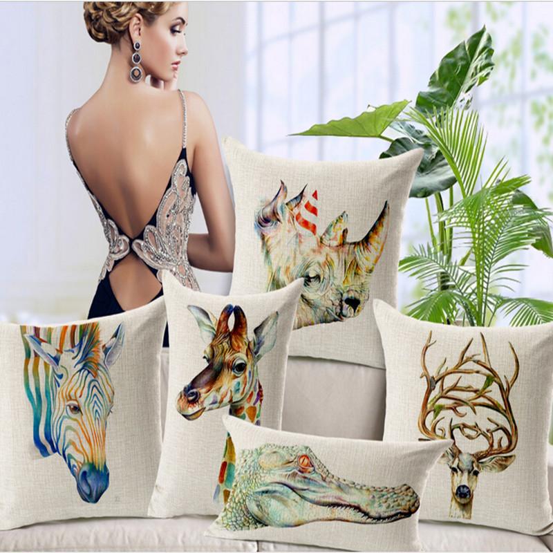 "Cotton Linen Ikea Cushion Throw Pillow Square Cartoon Animals Decorative 18 ""X18 ""(China (Mainland))"