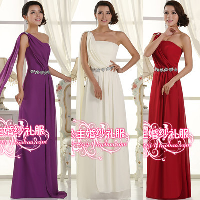 The new 2014 chiffon one shoulder long evening dress toast to the bride chiffon evening dress long 2015(China (Mainland))