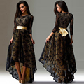 Dresses floor for women length black backless with lace tail long fashion long sleeve dress Top