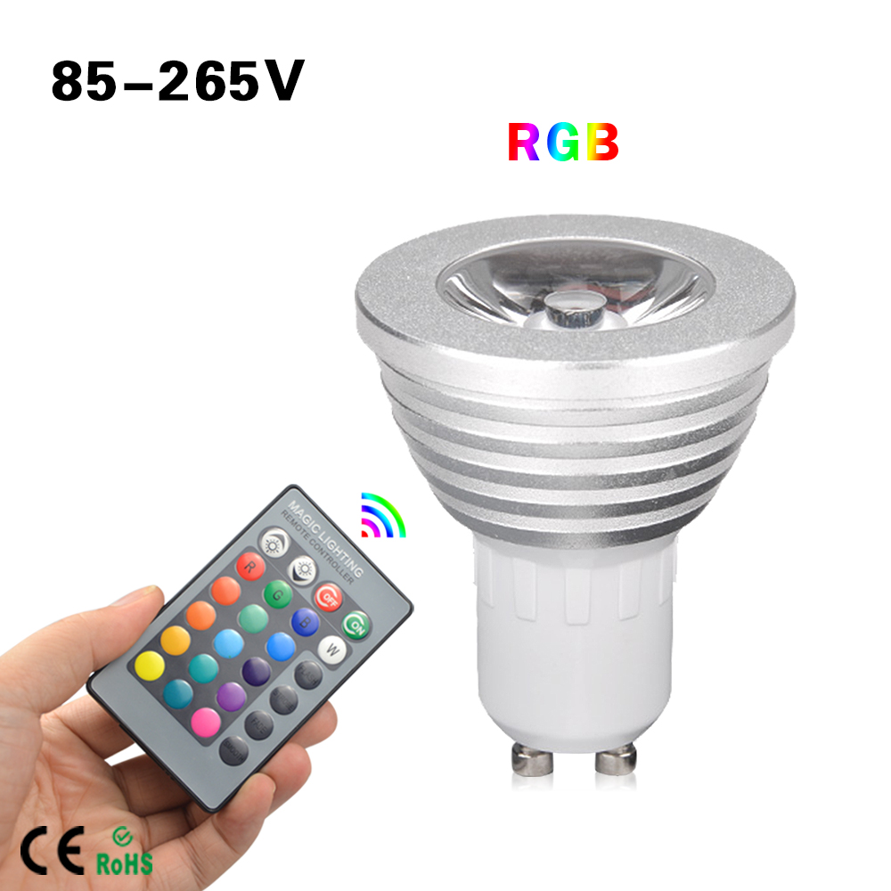 1pcs 16 colors dimmable gu10 rgb led lamp 110v 220v 5w with 24 keys remote controller spotlight. Black Bedroom Furniture Sets. Home Design Ideas