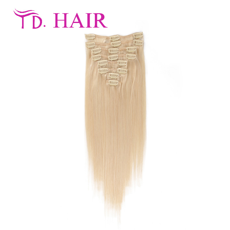 Fast Shipping 7A Grade 100% Brazilian Virgin Remy Clips In Human Hair Extensions 7pcs/8pcs/set Full Head #613 Bleached Blonde