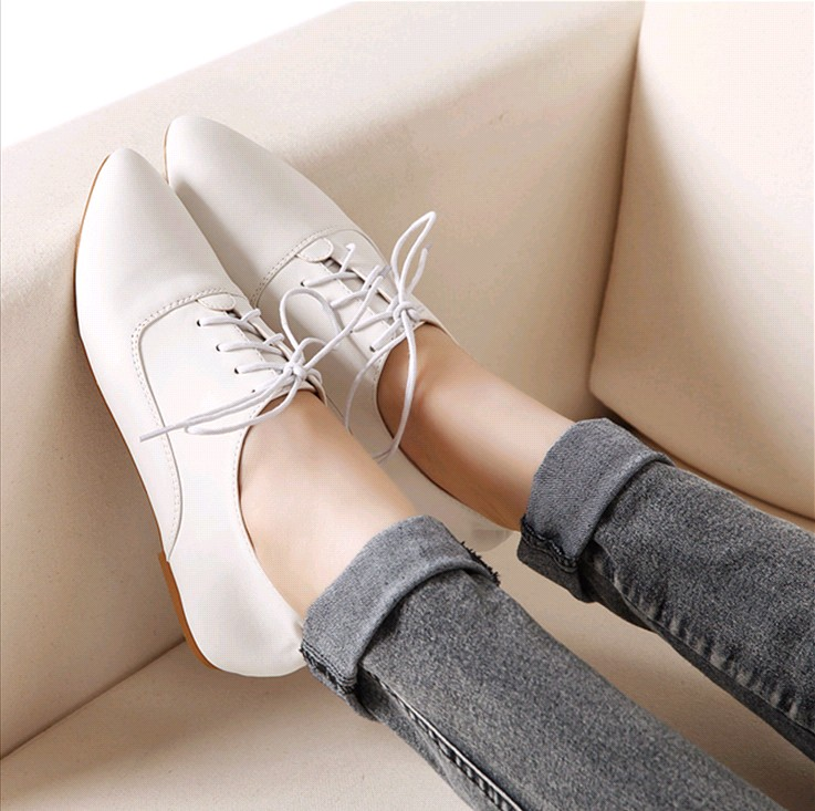 2016 Spring Vintage British Style Genuine Leather Lacing Shoes Flat Pointed Toe Single Shoes Women'S Casual Shoes(China (Mainland))