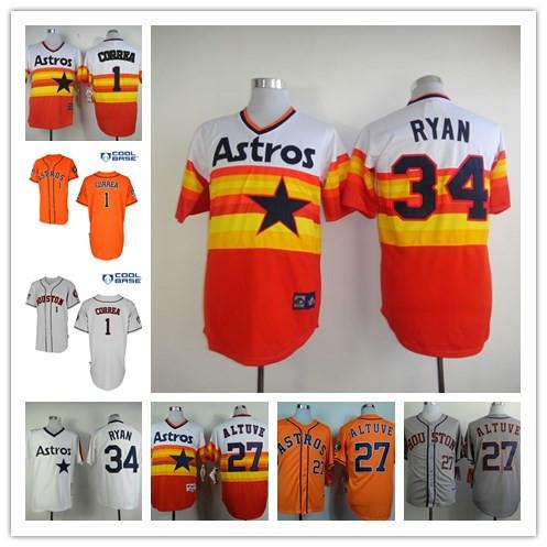 Best Quakity Houston Astros jersey Stitched #27 Jose Altuve Jersey authentic #34 Nolan Ryan jersey #1 carlos correa jersey(China (Mainland))