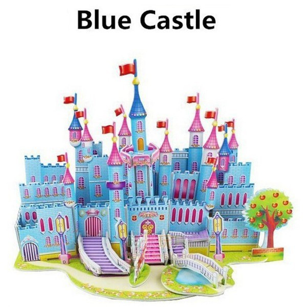 Lovely Cartoon Castles 3D DIY Jigsaw Puzzle Wisdom Baby Kids Educational Toys Fun(China (Mainland))