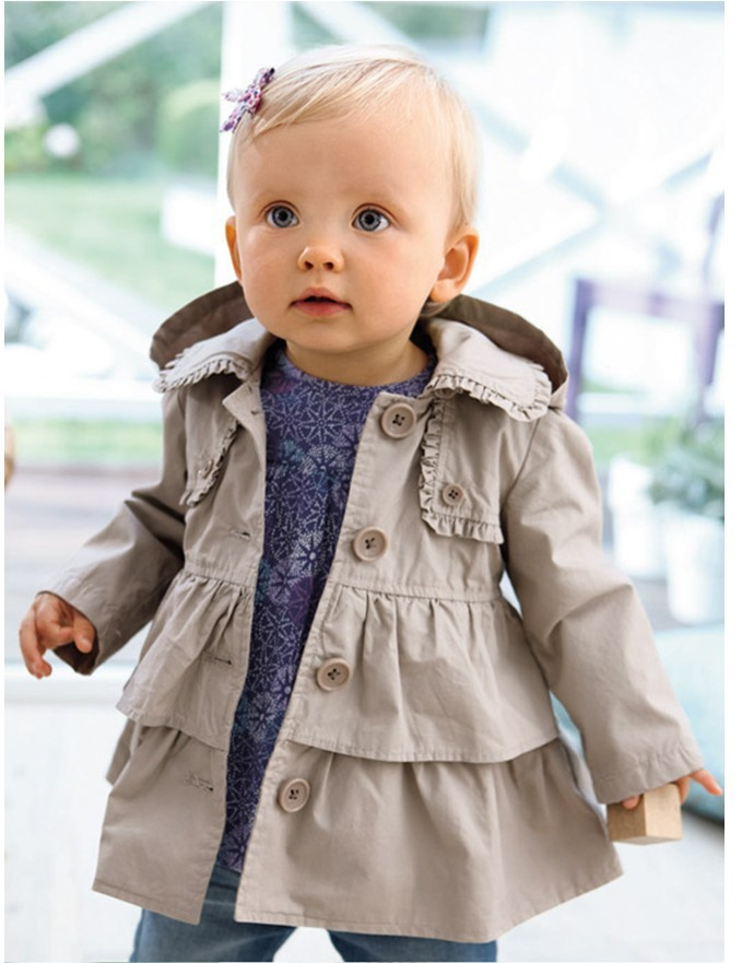 Hot Selling Baby Girls Cotton Casual Trench Coats : Autumn Spring Children Hooded Jacket Coat Baby Outwear Retail Top Quality(China (Mainland))